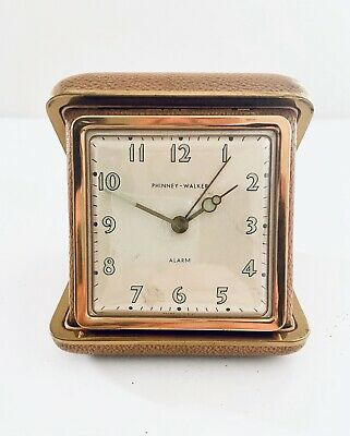 Vintage Phinney-Walker Folding Clam Shell Travel Alarm Clock Brown Gold Case