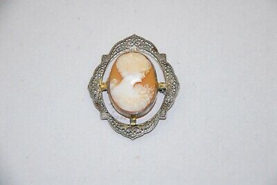 Antique Art Deco Gold Wash Sterling Silver Cameo Filigree Pin Brooch, Original.