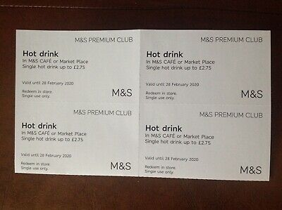 M&S Hot Drinks Vouchers x 4 Valid until 28 February 2020