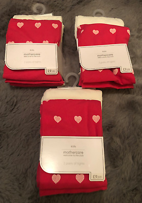 3x Mothercare 2 Pack Girls Tights Plain White Red PInk Heart Print BNWT