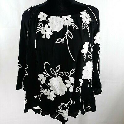 INC Plus Size 1X Womens Black Embroidered Blouse Top Ladder-Front WS-182