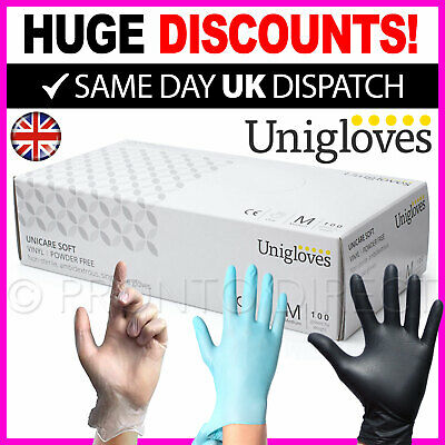 100 Disposable Powder Free Latex Free Clear Vinyl Gloves Nitrile Blue Medical