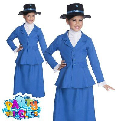 Childs Victorian Nanny Costume Girls Kids Mary Fancy Dress Book Week Day Outfit