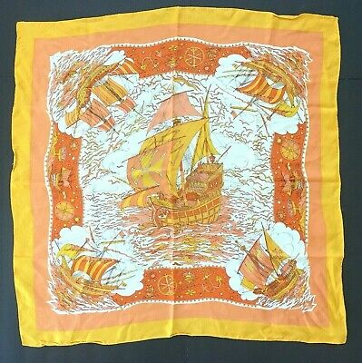 1970s Vintage Hand Rolled Scarf Pop Art Spanish Galleon Ships 29""