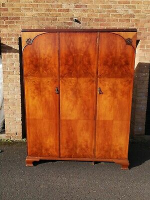 Beautiful Antique Triple Wardrobe Armoire MAPLE & Co LONDON Royal Warrant