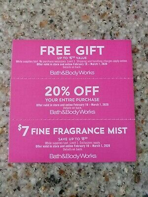Bath and Body Works - 3 coupons Expires 3/1/2020