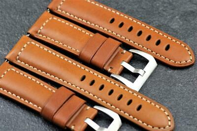 Handmade Genuine Calf Leather Sporty Character Watch Strap 24mm Cocoa Brown