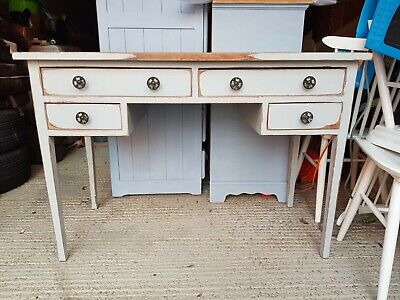 Blue Painted Solid Oak Early 20th Century Desk