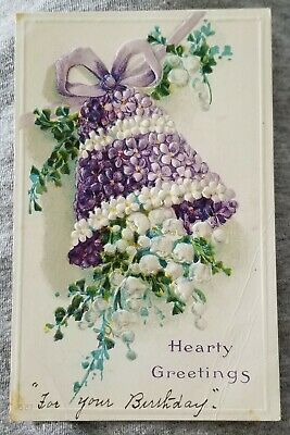 Postcard: Hearty Greetings w/ Purple & White Flowers (Early Divided Unused 1910)