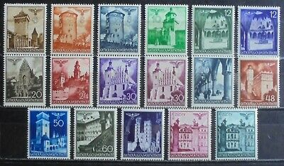 GENERAL GOVERNMENT 1940-41 Churches, Castles etc, Complete Set of 17 m/h