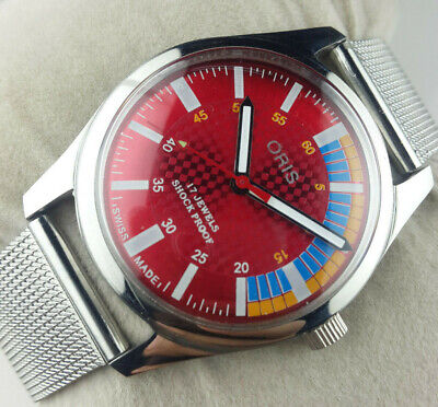 Vintage Oris St96 Movement Excellent Red Dial Winding Swiss Mens  Wrist Watch Mn