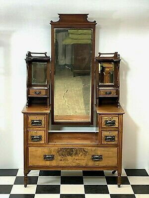 Superb antique arts & crafts dressing table chest with seven drawers and mirrors