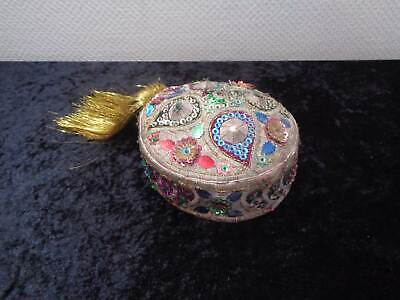 Oriental Hat Cap Fez Cap with Sequins Hand Made - Vintage