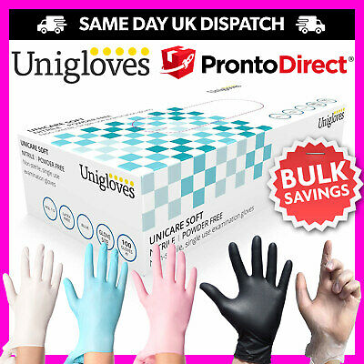 100 Disposable Powder Free Latex Free Clear Vinyl Gloves Nitrile Pink Blue