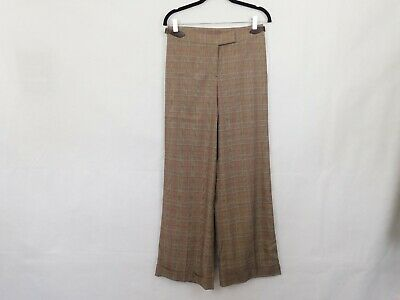 New Lilly Pulitzer Pants Size 4 Women Brown Plaid Vintage Wide Leg Cuffed Retro