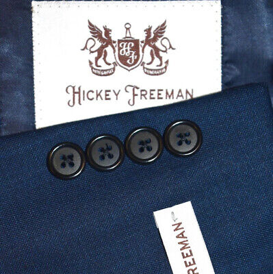 $1495 42L Hickey Freeman Navy Blue 2 PIECE SUIT Flat Front 36