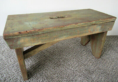 "Antique Footstool Stand Primitive Bench Wood 11"" Tall x 20"" Long, Orig Green Pt"