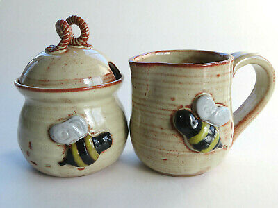 MudWorks Pottery Busy Bee Honey Pot and Mug or Creamer Lot of 2 Nice Bee Motif