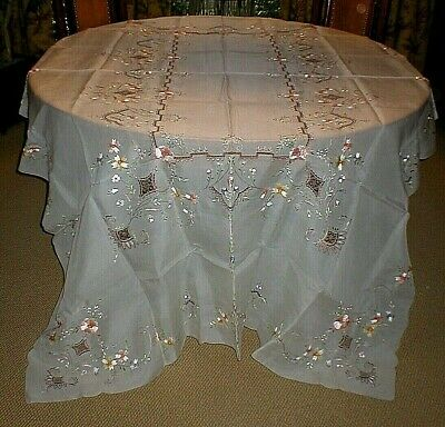 "Vintage Elegant Sheer Silk Organza Embroidered Tablecloth, 68"" X 100"", Flawless!"