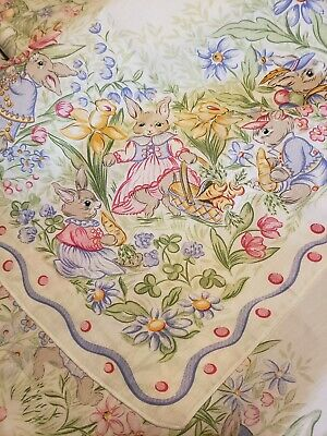 """Easter Parade Oblong Tablecloth 104"""" x 128"""" with 12 napkins. Bunnies rabbits"""