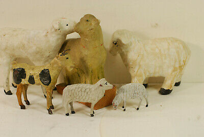 6 papier- mache-wood-plaster farm animalsnice folk art, late 19th century