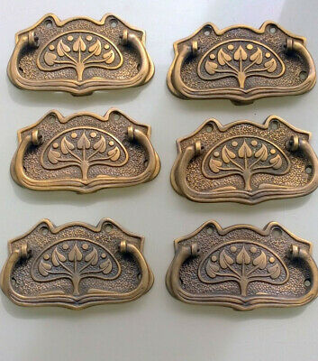 6 medium DECO cabinet handles solid brass furniture antiques age old style 9cm B