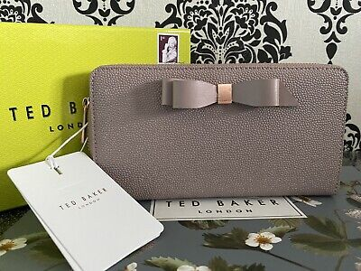 Ted Baker Genuine AINE Bow Zip around Leather Matinee Purse Pl-Pink BNWT Boxed
