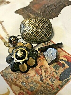 Antique Pique Work French Brooches For Repair / Project Rare Collectable 1850S
