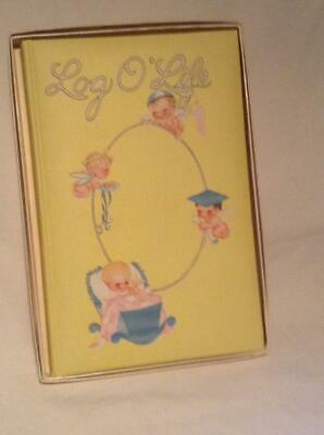 Vintage 1946 Log O'Life Yellow Hardcover Baby Record Book to Adult in Box Unused