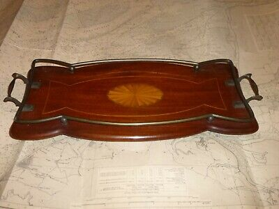 Antique EDWARDIAN MAHOGANY MARQUETRY INLAID TRAY. Brass Rail & Handles c.1903.