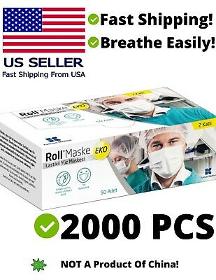 2000PCS Disposable Medical Face Mask High Quality White (40boxes of 50pcs)