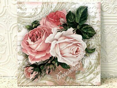 French Country Shabby Chic Style Wall Sign Decor - Flowers