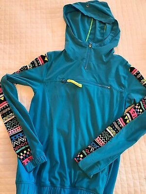 Ivivva by Lululemon Girls Blue Hooded Athletic Pullover Hoodie Jacket Size 12