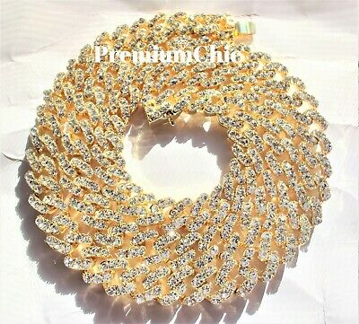 Mens Miami Cuban Link Chain or Bracelet VVS Simulated Diamond ICED Gold Plated
