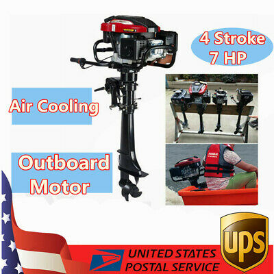 5.1KW Outboard Motor Engine 196CC 7HP 4 Stroke Fishing Boat Engine w/Air Cooling