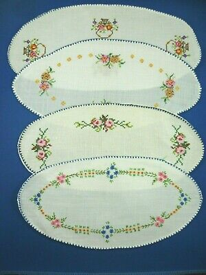 4 x VINTAGE HAND EMBROIDERED FLORAL SANDWICH DOILES ALL VERY GOOD CONDITION