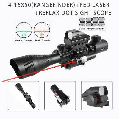 Pinty 4-12X50EG Rangefinder Mil Dot Reticle Rifle scope Red Laser&Red Dot Sight