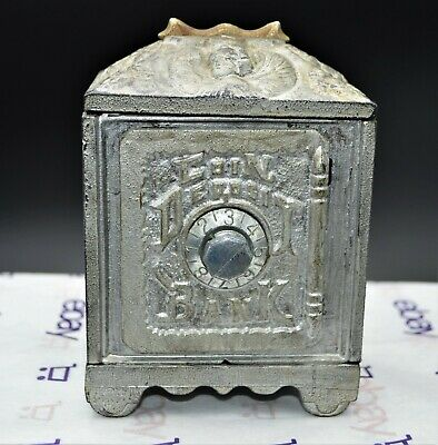 Vintage Antique Grey Iron Casting Co Cast Iron Coin Deposit Bank Mid Size, Works