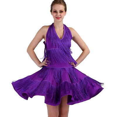 Latin Ballroom Competitio​n Dance Dress Modern Waltz Tango Standard Dress#F343