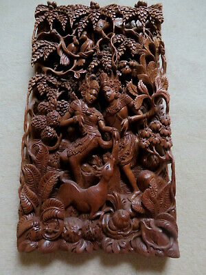 Balinese Antique Hand Carved Mythological 3D Wooden Relief WALL PANEL
