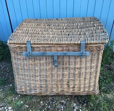 Vintage Large Industrial Wicker Laundry Linen Basket Trunk Chest Toy Storage