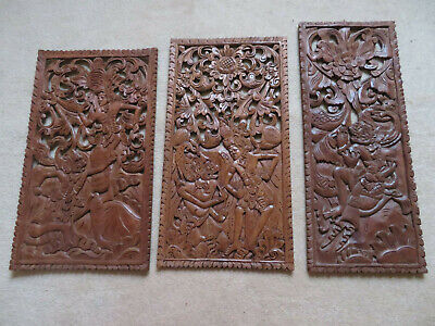 Balinese Antique Hand Carved Mythological Wooden Relief WALL PANELS 3X