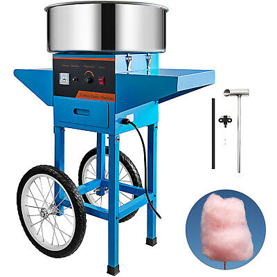 Electric Commercial Cotton Candy Machine / Floss Maker Blue Cart Stand