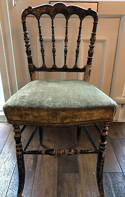 Antique French Napoleon III Beech Side Chair Original Paint Modern Seat Used.