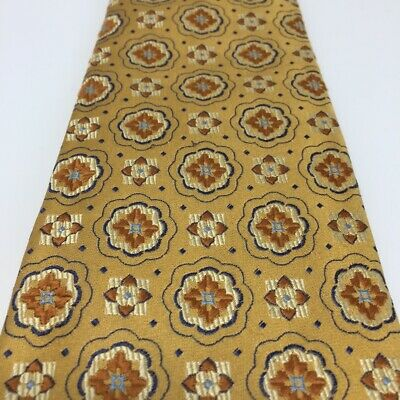 Isaia Napoli Neiman Marcus Mens 7 Fold Neck Tie Gold Geometric Made in Italy