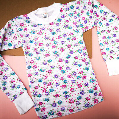 Vintage Kids 90s Waffle White Floral Top Cotton Blend 6Y, americana, kitsch