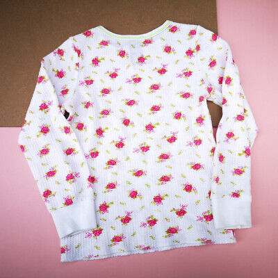 Vintage Kids 90s Waffle White Floral Top Cotton Blend 3-4Y, americana, kitsch