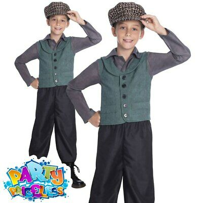Child Victorian School Boy Costume Poor Urchin Book Day Kids Fancy Dress Outfit