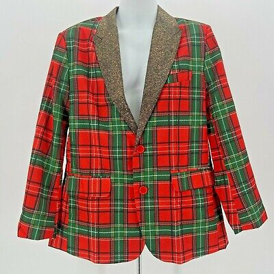 NWT You Look Ugly Today Red & Green Plaid Christmas Blazer Suit Jacket Men's Med