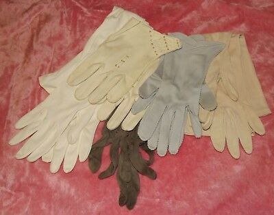 Lot of VINTAGE GLOVES Beads Faux Pearls  40s/50s/60s  ( 5 Pair )  Size 7 / S / M